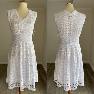 NWT White Lace Smocked-waist Midi Dress Lovely!